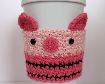 Crochet Piglet Coffee Cup Cozy