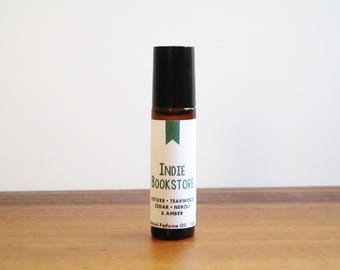 INDIE BOOKSTORE / Vetiver Teakwood Cedar Neroli & Amber / Book Inspired / Bookstore Collection / Roll-On Perfume Oil