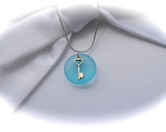 Key Sea Glass Necklace-Key to your heart-Teal Sea Glass Necklace-Sea glass Jewerly-Pendants,Beach Jewelry