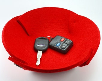 Catch All Bowl in 5mm Thick Virgin Merino Wool Felt Fabric Collapsible Travel Valet Tray Felted Catchall Dish