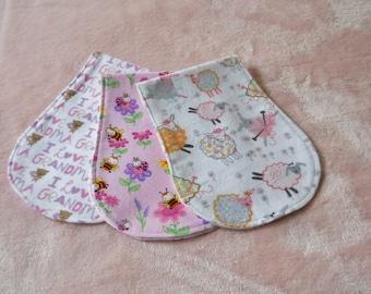 Burp Cloths, Set of 3 Baby Girl Burp Cloths, Shower Gift, Contoured Burp Cloths