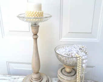tall candle holders, footed bowl, Farmhouse decor, pillar candle holder, rustic chic candle holder, vintage candle holder