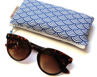 Blue Japanese cotton quilted glasses case