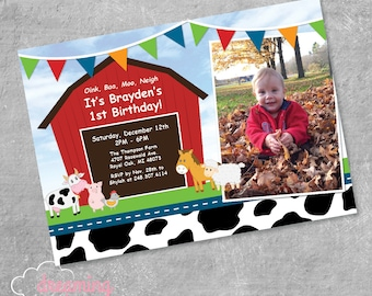 Farm and Barnyard Animals Birthday Party Invitation - Any Age!
