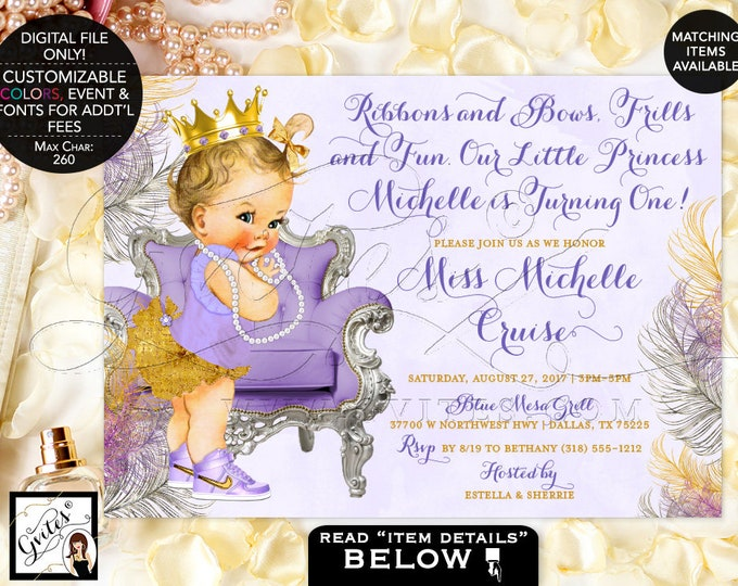 Lavender and Gold First Birthday Invitations, Gold Crown, Princess Girl Vintage Invites, Printable, Digital File Only! Gvites