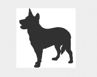 Australian Cattle dog Embroidery Design File - multiple formats - one color design - 4 sizes - instant download - silhouette embroider