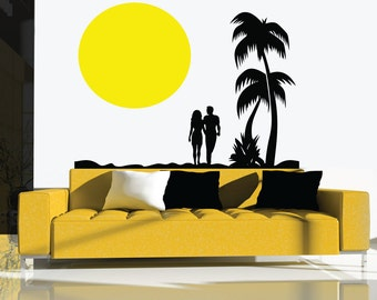 Couple Holding Hands On Beach Wall Decal - Lounge Decal - Home Decoration - Wall Decoration - Custom Wall Decals -LQ35