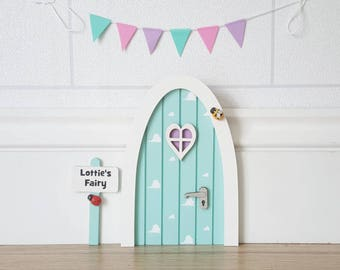 Personalised pastel Fairy door great gift for girls miniature pretend play make believe toothfairy door choice of colours cloud pattern elf