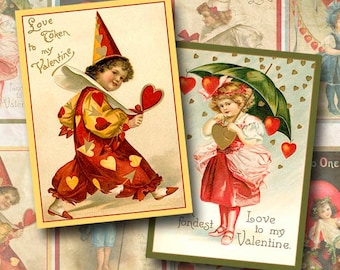 Digital Collage Sheet Vintage Valentine Cards Gift Tag Hang Tag ATC ACEO Background Instant Download ATC127