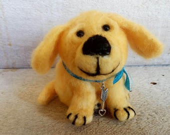 Takoda Service Dogs Fundraiser, Needle Felted Puppy, Needle Felted Golden Retriever, Dog Scuplture