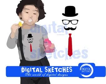 Gentleman Mustache Machine Embroidery Design 3 Sizes
