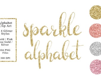 Sparkle alphabet clip art, 4 colors, gold, rose gold, silver, pink, glitter alphabet clip art, lower case, download