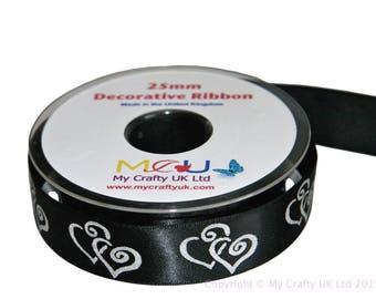1 Metre of 25mm Double Heart Ribbon - Black - Wedding Anniversary Decoration Cake