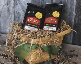 Gift Basket (2) Freshly Roasted Artisan Coffee Beans