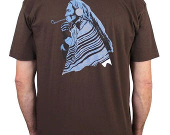 Native American with pipe t-shirt - American Apparel 50/50 cotton blend Vintage Americana