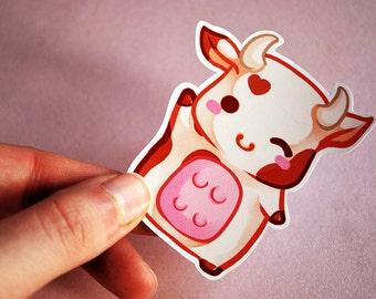 Kawaii chibi cow sticker - chocolate milk - cute planner stationery original farm animal
