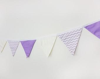 Cotton wall banner Purple Ivory Chevron Wall decor Nursery baby bunting Fabric garland/Wedding garland/Wall art/Wall hanging/Banners