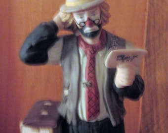 "Flambro Clown Figurine Emmett Ally Jr. Collection ""IRS Tax Bill 1987 8"" Tall"