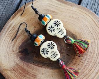 Day of the Dead Earringsp, boho earrings, tassel jewelry, boho earrings, bohemian earrings, boho jewelry, skull earrings, skull jewelry