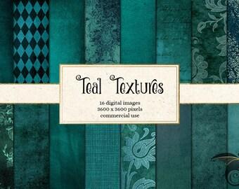 Teal Digital Paper, teal textures, teal distressed textures, grunge grungy backgrounds, vintage aqua blue scrapbook paper instant download
