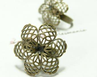 1 ring Bronze 3D flowers