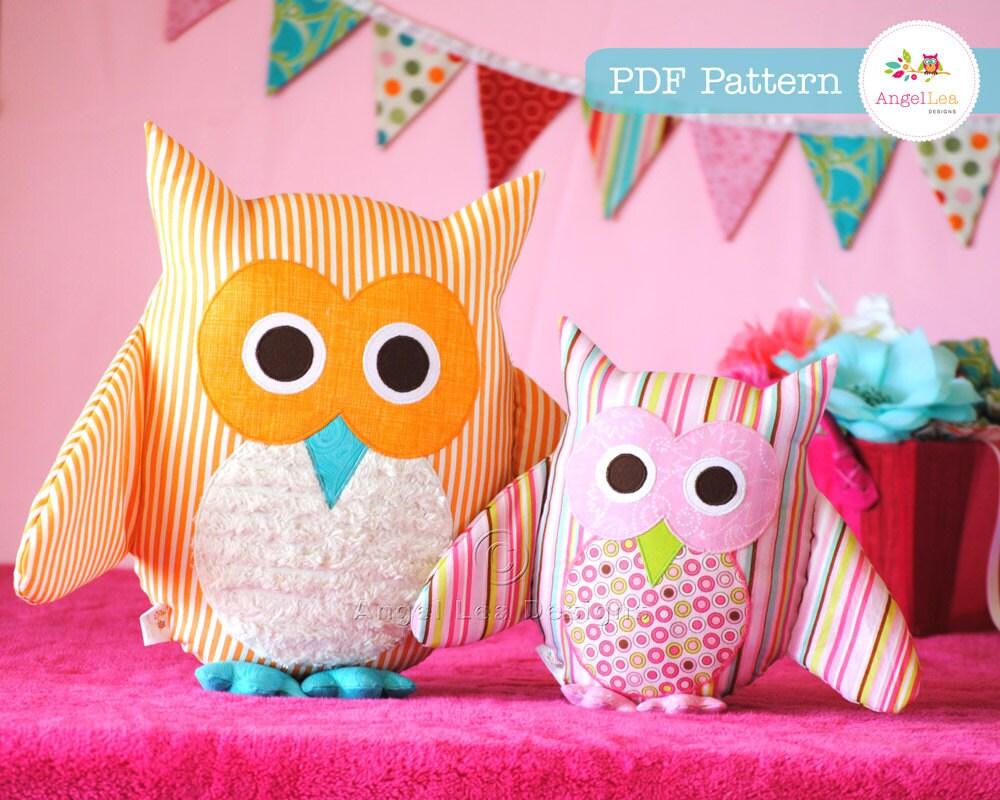 Owl pattern pdf sewing pattern for owl soft toy cushion zoom jeuxipadfo Choice Image