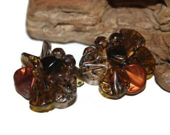 Germany Clip On Earrings, Cluster Earrings, Signed Germany, Beaded Earrings, Vintage Beaded Jewelry, 40s Earrings, Mad Men, Cluster Jewelry