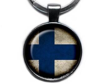 Republic of Finland Finnish Flag Keychain Keyring
