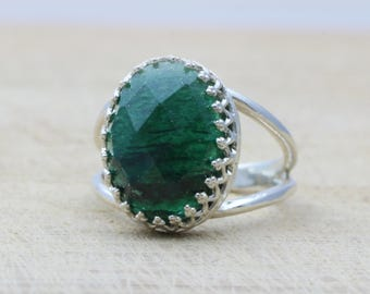 MOTHER'S DAY SALE - Agate ring,emerald ring,silver ring,gemstone ring,oval ring,engagement ring,silver stone ring,stack ring