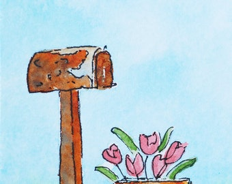Mailbox Pink Tulip Flowers Original Miniature Watercolor Painting ACEO Trading Cards Small Art Paintings Mothers Day Gift Rural Art Tiny