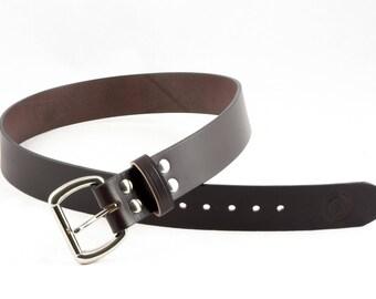 Full Grain Leather Belt // Mens Leather Belt // English Bridle // Veg Tanned // 1.5 inch Width // Best Leather Belt in Dark Brown No. 100