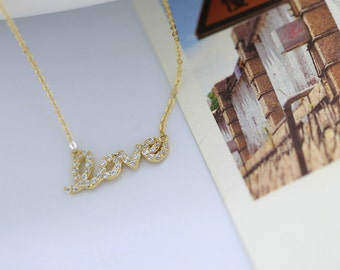 14K solid gold sparkle micro pave cubic zirconia LOVE script pendant necklace LOVCZ-N1008