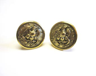 Eagle and Anchor CuffLinks Gold Cuff Links Bird