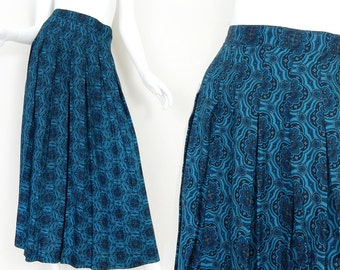Vintage Blue Floral Medallion Print Long Pleated Skirt - High Waisted Full Women's Maxi Skirt - Late 80s to Early 90s - Size 8