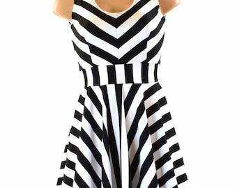 Black & White Stripe Tank Sleeve Fit and Flare Skater Dress 151219
