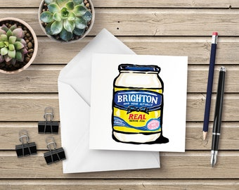 Brighton & Hove Mayonnaise - Blank Greetings Card - the classic mayonnaise pack with a humorous Brighton twist. Kitchen inspired fun!