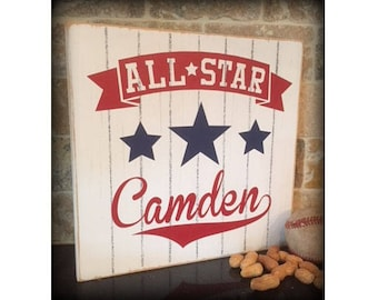 All Star Sports Sign, Custom All Star Sign, Stars and Stripes, Sports Sign, Custom Name Sign, Sports Decor, Children's Sign, Vintage Sign