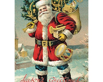 Vintage Santa Claus Poster Wrapping Paper by Cavallini to Frame or for Wrapping, Book Binding, Decoupage, Paper Arts PSS 3426