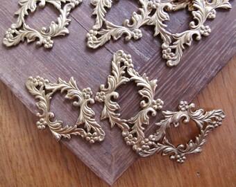 4pcs Art Nouveau Style Raw Brass Stamping, Floral Frame / Border 34x23mm - CB-53FVS-10