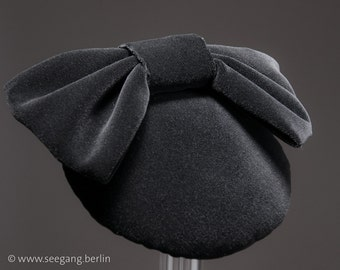 Black Velvet Hat, Black Vintage Fascinator, 50s Headpiece, 40s Headdress, Gothic, Hair Accessories, elegant Headdress, Gift for her, Germany