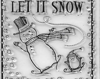 Clear mini cling rubber stamp Christmas Snowman design