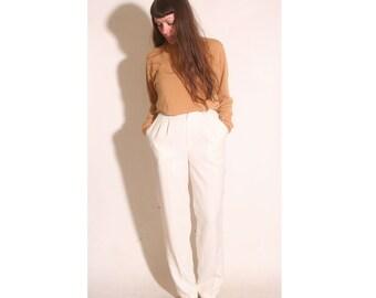 Vintage 1980s High Waist Pleated Cream Women's Business Slack Pants size 11/12