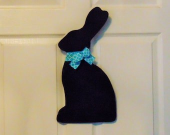 Wooden Chocolate Bunny, Chocolate Bunny Door Hanger, Easter Door Hanger, Chocolate Easter Bunny