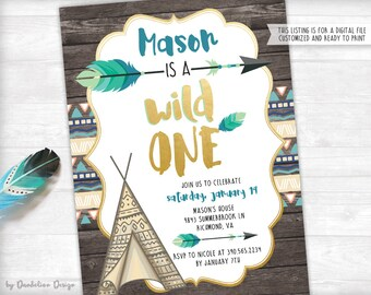 Wild One! First Birthday Invitation plus Thank You Card Printable