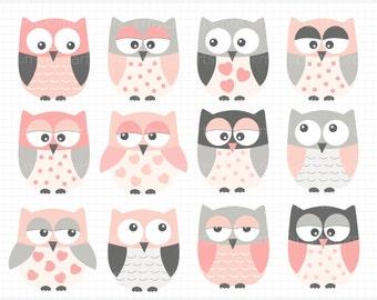Vector Clipart - Pink & Grey Owls, owl clip art, baby girl owls, nursery owls, cute owls, pink owls, grey owls, baby nursery, vector clipart