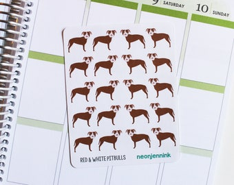 Red & White Pitbull Stickers (Set of 20 Stickers)