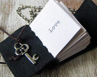 book jewelry necklace with typewritten Love miniature journal pendant necklace for book lover reader handstitched tiny diary women daughter