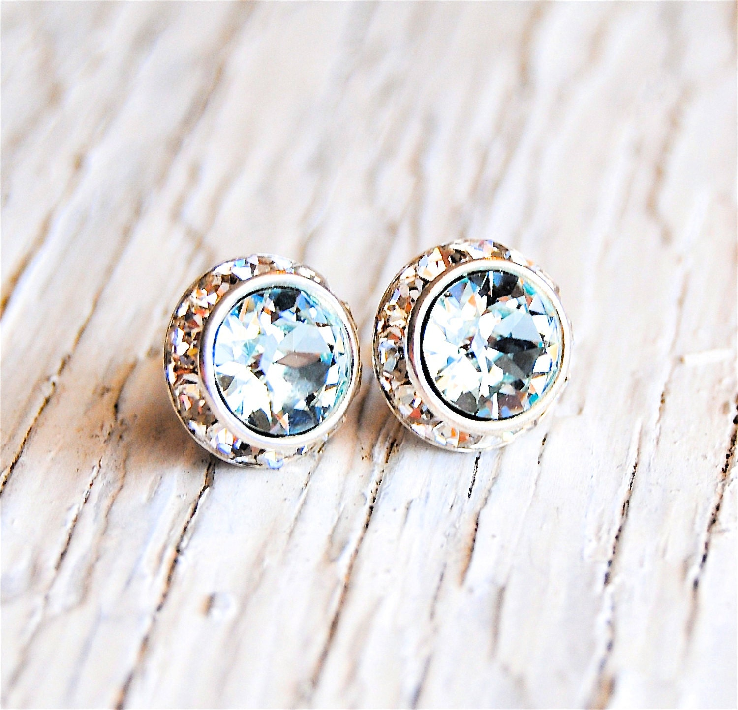 p marine white earrings large stud gold diamond context aquamarine aqua