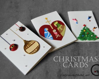Christmas cards ( Paper quilling )