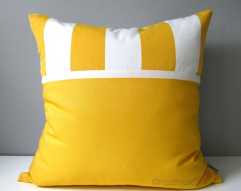 SALE - Yellow & White Outdoor Pillow Cover, Decorative Striped Pillow Cover, Canopy Stripe, Modern Color Block Cushion Cover, Lemon Yellow